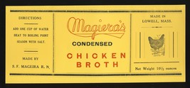 Vintage Magiera's Chicken Broth Soup Label, Lowell, Mass/MA, 1940's? - $4.00