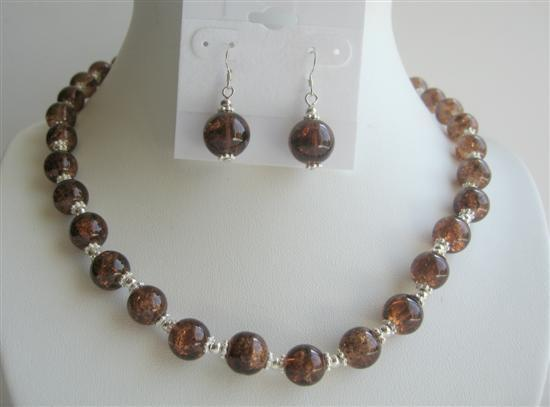 Fancy Brown Glass Beads w/ Silver Beads Spacer Necklace Set