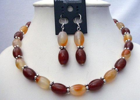 Genuine Carnelian & Focal Bead Necklace Set w/ Bali Silver Spacing & G