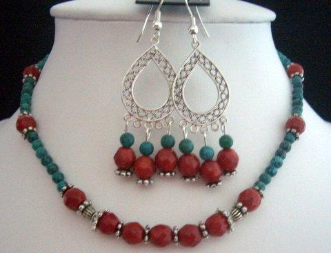Handcrafted Jewelry Faceted Coral Beads w/ Green Turquoise Beads