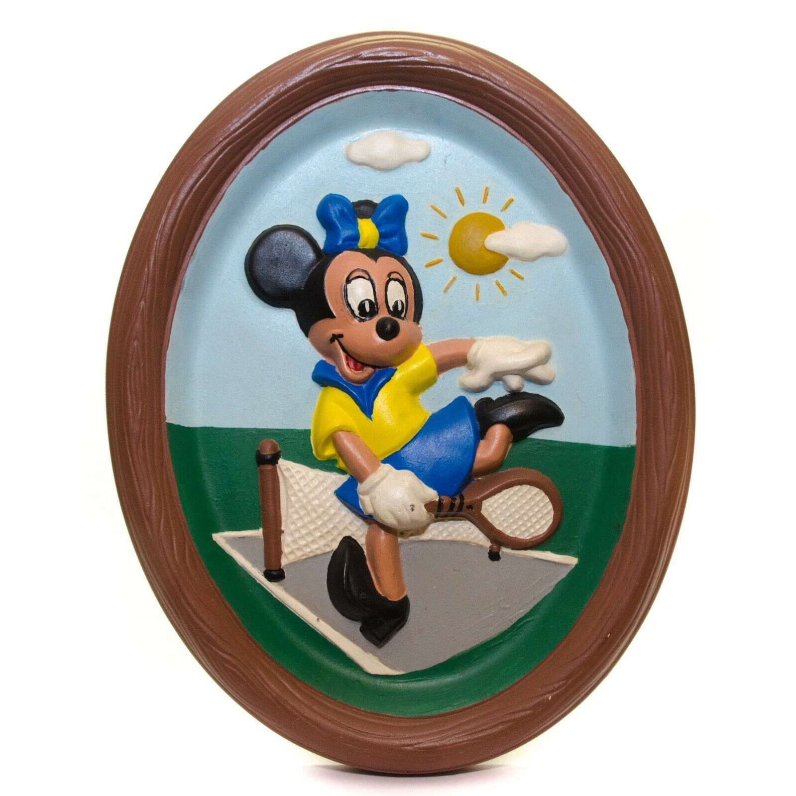 Vintage Walt Disney Productions Minnie Mouse Playing Tennis Ceramic Wall Hanging - $24.72