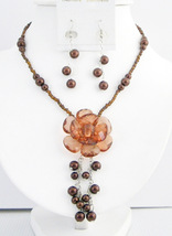 Smoked Topaz Brown Necklace Brown Beads Pearls Dangling With Flower An - $14.68