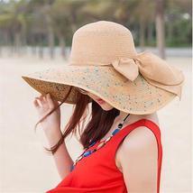 Women Colorful Big Brim Straw Bow Hat Sun Floppy Wide Brim Hats Beach Cap Colorf image 4