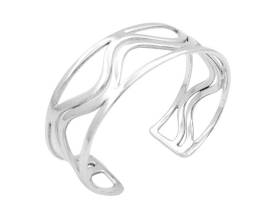 Tripple Row Sterling Silver Bracelet Curvy In The Middle Row - $102.43