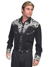 Men's Western Shirt Long Sleeve Rockabilly Country Cowboy Black Silver F... - $87.38