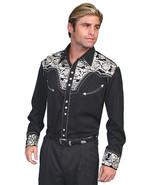 Men's Western Shirt Long Sleeve Rockabilly Country Cowboy Black Silver F... - $87.79
