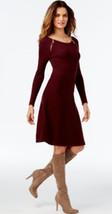 INC International Concepts Double Zip A-Line Burgandy Knit Sweater Dress... - $42.99