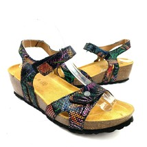 SPRING STEP Multi Color Leather Comfort Wedge Sandals Women's Size 39 EU... - $34.64