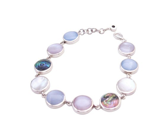 Precious Stone Mother Of Pearls with Abalone Shell Sterling 925 Bracel