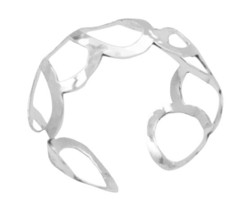 Sterling Silver 92.5 Round Rings Cuff Bracelet Silver w/ Stamped 92.5 - $45.88