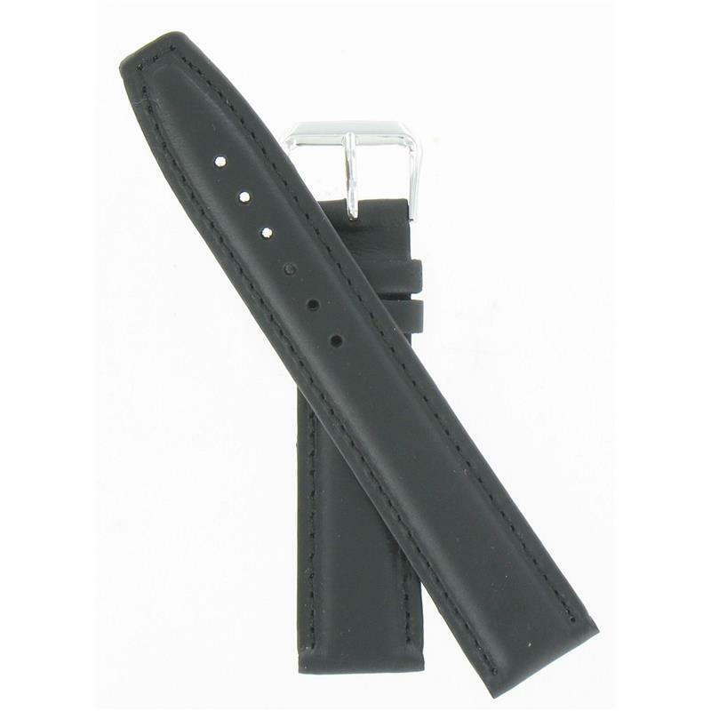 Speidel 20mm Black Genuine Leather Silver Tone Buckle Watch Band WW03401N - $15.95