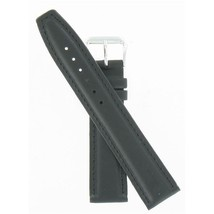 Speidel 20mm Black Genuine Leather Silver Tone Buckle Watch Band WW03401N - $15.95