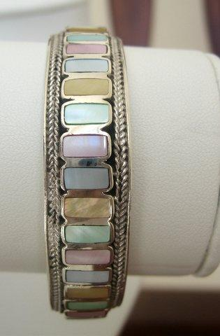 Sterling Silver Inlay Mother OF Pearl Sterling Cuff Bracelet