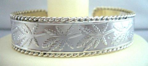 Self Designed Sterling Silver Cuff Bracelet w/ Border Designed