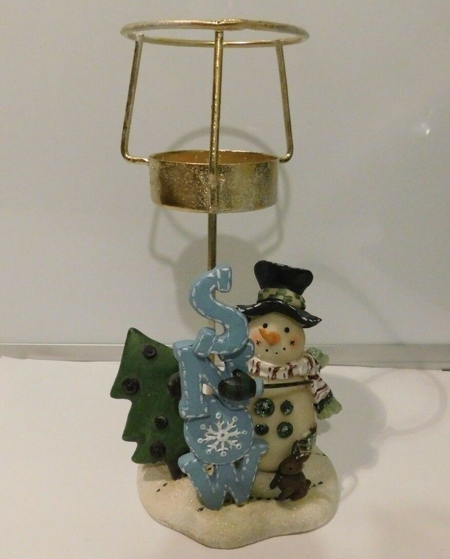 "Primary image for Snowman Christmas Candle Holder Decoration  8"" #C10"