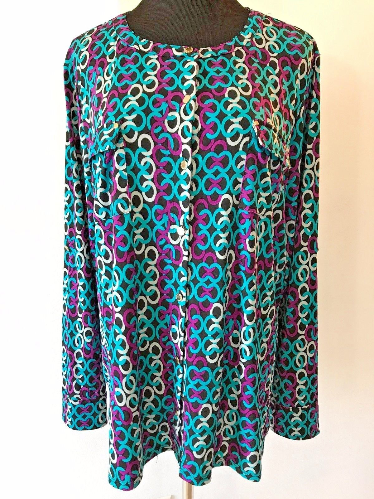 5c69e4d2f8a8c7 Dana Buchman Black Turquoise Purple Geometric Rings Blouse Shirt Top size  1X S1 -  17.95