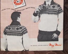 Vintage Mary Maxim Knitting Patterns ADULTS Cardigan Pullover Sweater OLYMPIC  - $5.95