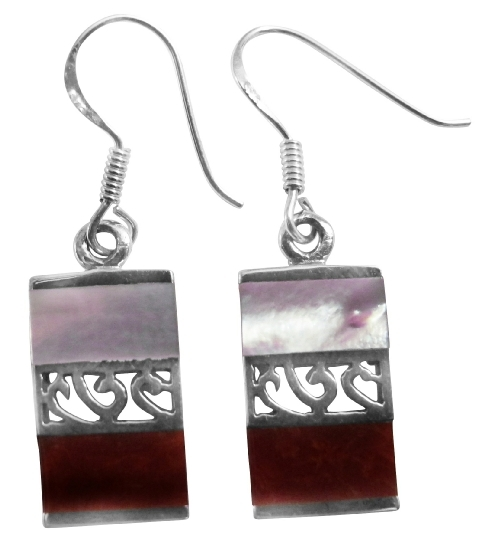 Fascinating Sterling Silver Earrings Mother Of Pearl & Coral Stone Inl