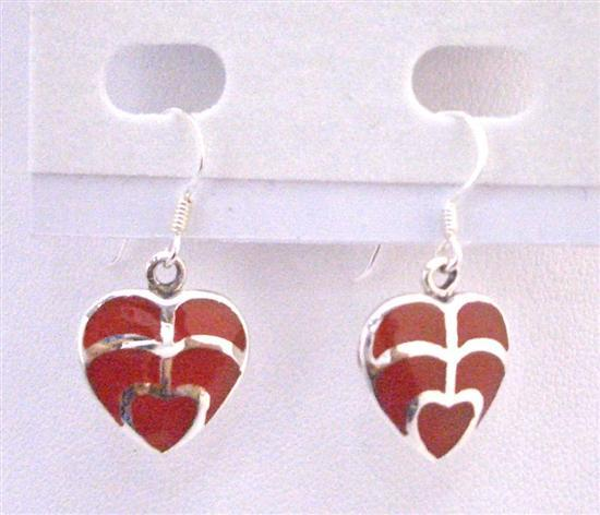 Coral Red Heart Earrings Sterling Silver Gift Inexpensive Jewelry