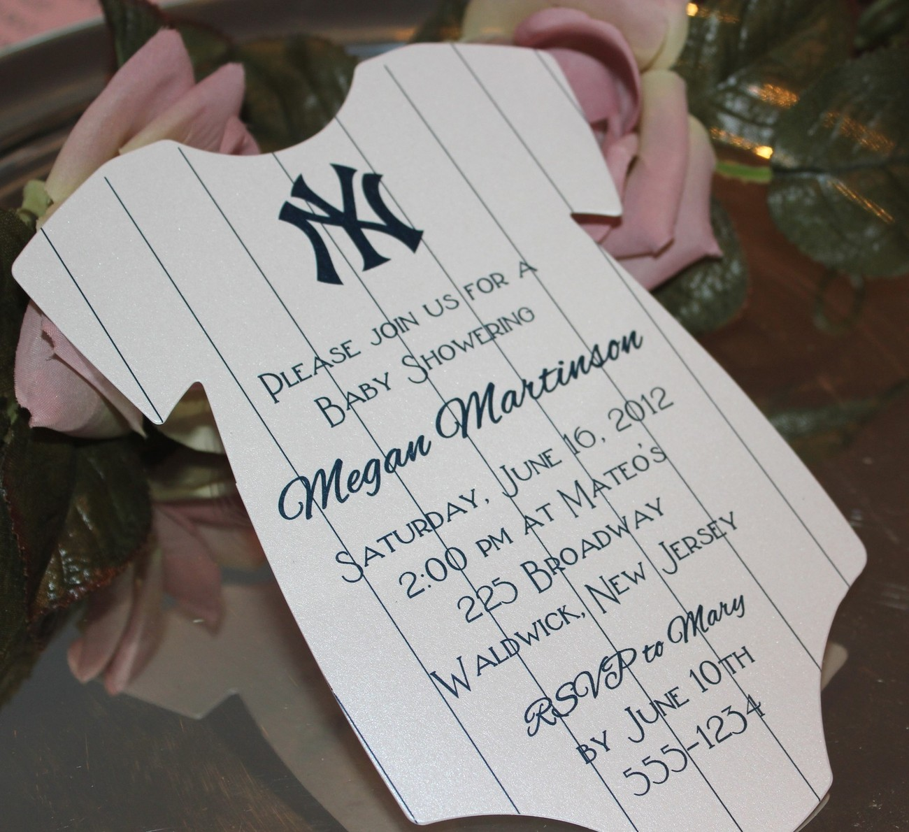 Baby Shower Invitation Onesie New York Yankees Theme
