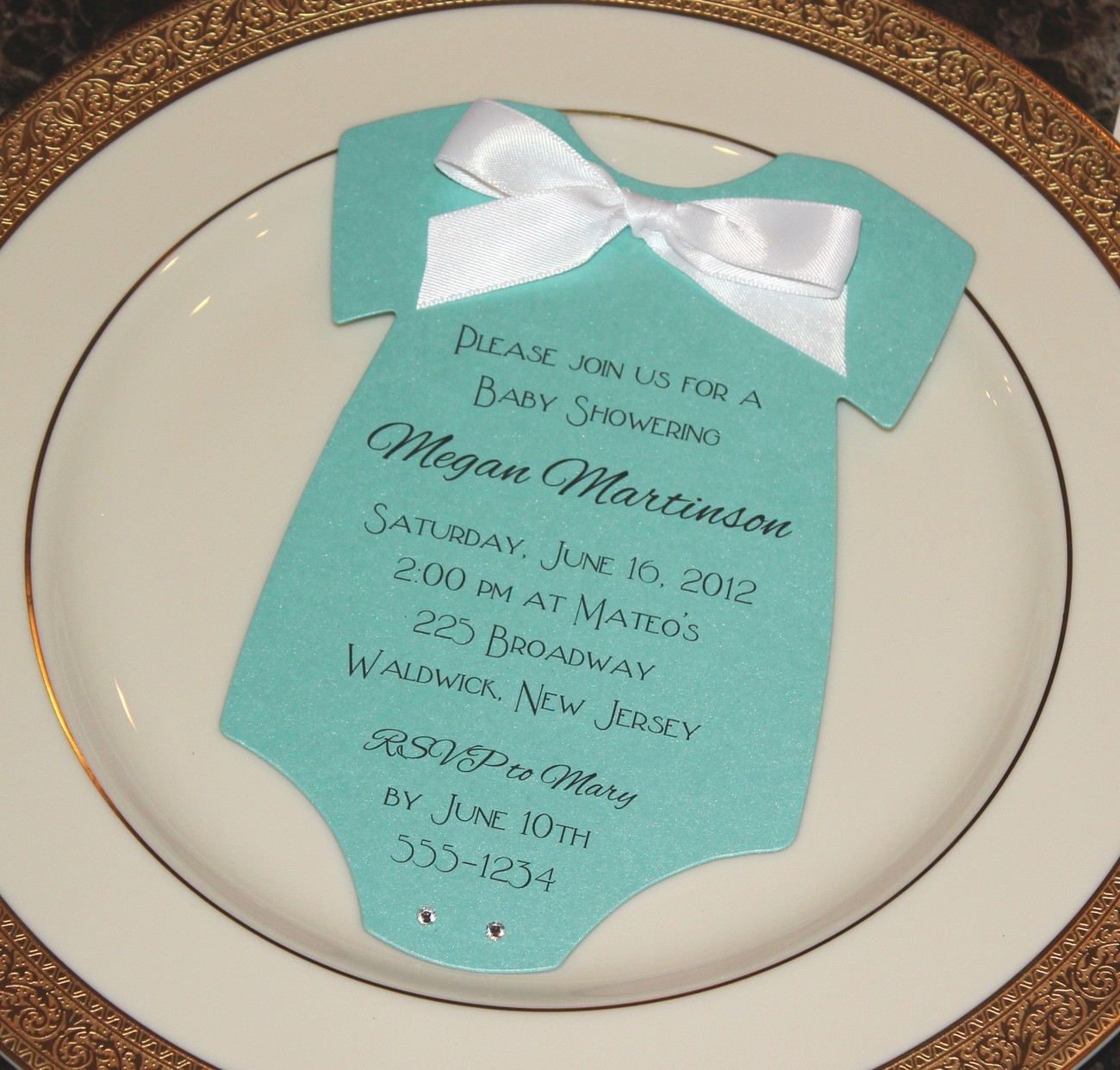Baby Shower Invitation Onesie Tiffany Blue And Other