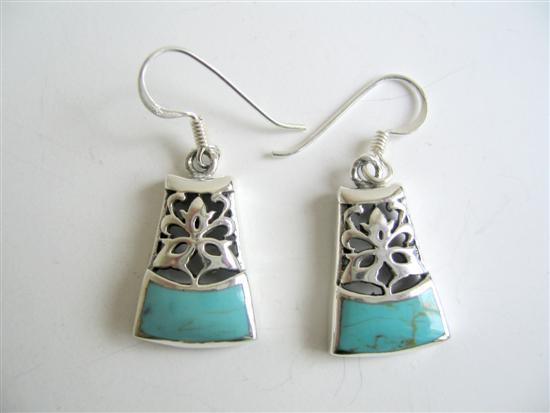 Oxidized Sterling Silver 92.5 Turquoise Inlaid Silver Earrings