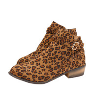 Women's Braided Strap and Buckle Effect Ankle Boots Leopard Print Booties - 10