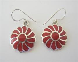An item in the Jewelry & Watches category: Coral Inlay Flower Earrings 925 Silver Sterling Silver Earring