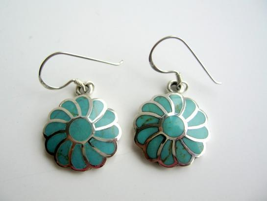 Turquoise Flower Earrings 925 Silver Flower Turquoise Inlay Earrings