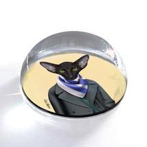 """Black Dressed Up Cat Illustration Art Gift 2"""" Crystal Dome Magnet or Pap... - $15.99"""