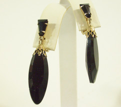 Jet BLACK Glass DANGLE Faceted Drop Clip Earrings Vintage SEXY Party Pro... - $18.80