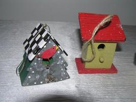 Vintage Lot of 3 Red & Cream Painted Wood & Metal Checkboard Roof Gingerbread  image 2