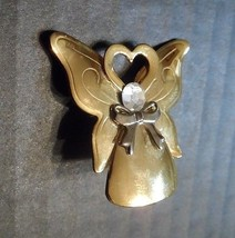 "Angel Brooch Pin 1.5"" Vintage Jane Angels of Love Heart Engraved Signed ... - $12.12"