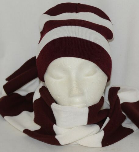 Sportsman Burgendy White Stripped Winter Hat Scarf Set Acrylic