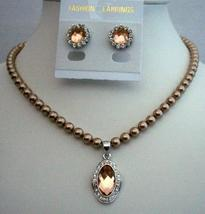 Handcrafted Bridal Necklace Jewelry Bronze Pearls Pendant Stud Earring - $28.98