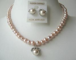 Handcrafted Freshwater Pearls Peach Necklace Set Stud Pendant Earrings - $17.30