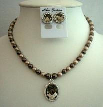 Swarovski Pearls Crystals Handcrafted Bronze Pearls w/ Pendant Jewelry - $28.98