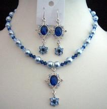 Swarovski Blue Pearls Sapphire Light Dark Crystal Pendant Necklace Set - $28.98