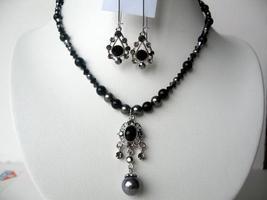 Pendant Necklace Set Mystic & Dark Grey Pearls w/ Jet Crystals - $27.70