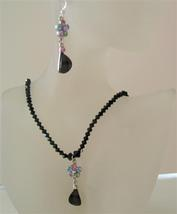 Black Swarovski Crystals Jewelry Jet Sparkling Necklace Set w/ Pendant - $41.33