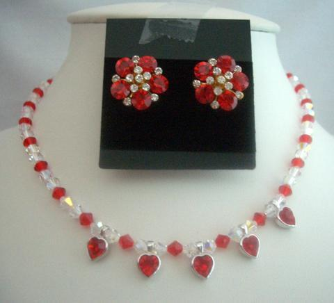 Primary image for Bridal Jewelry Necklace Set Siam Red Crystals Necklace Set AB Crystals