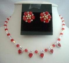 Bridal Jewelry Necklace Set Siam Red Crystals Necklace Set AB Crystals - $51.10
