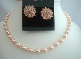 Peach Necklace Set Swarovski Peach Pearls Crystals Handcrafted Jewelry - $36.78