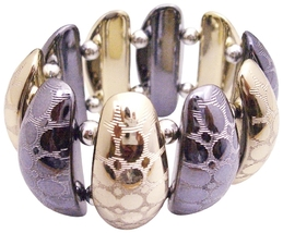 Trendy Stylish Stretchable Ladies Bracelet In Oxidize & Gold Metal - $8.83