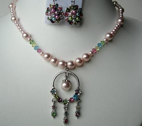 Primary image for Necklace & Earrings Pearls & Multi Cystals w/ Dangling Pendant