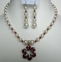 Necklace Earrings White Pearls Siam Red AB Cystals w/ Flower Pendant - $45.90