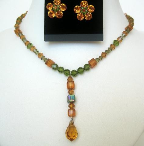 Party Jewelry Topaz Crystals & olivine Crystals Necklace Set TearDrop