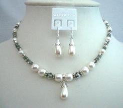 Swarovski Jewelry White Pearl Volcano Crystal Necklace Set Bali Silver - $41.98