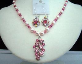 Swarovski Light Dark Pink Rose Crystals Pearls w/ Pendant Necklace Set - $44.60
