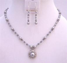 Swarovski Grey Crystals & Pearls Necklace Set - $41.98